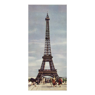 Vintage Tourists Traveling in Paris Eiffel Tower Rack Card Template