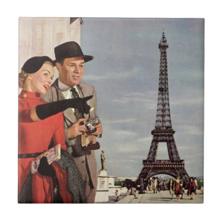 Vintage Tourists Traveling in Paris Eiffel Tower Tile