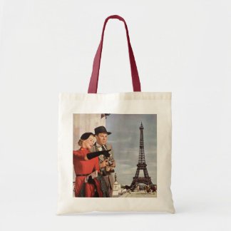 Vintage Tourists Traveling in Paris Eiffel Tower Tote Bag