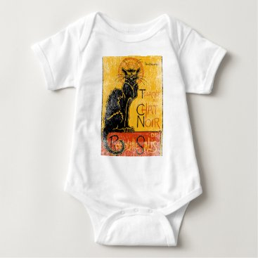 Halloween Themed Vintage Tournee du Chat Noir Black Cat Halloween Baby Bodysuit