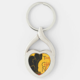 Vintage Tournée Du Chat Noir Theophile Steinlen Silver-Colored Heart-Shaped Metal Keychain