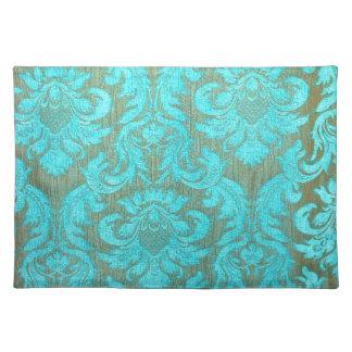 Vintage tourquise gold damask victorian pattern placemats