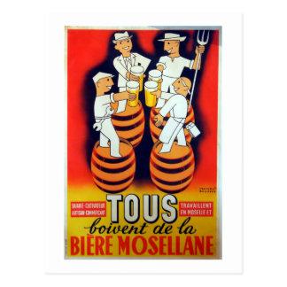 Vintage Tous Boivent de la Bière Mosellane Postcard