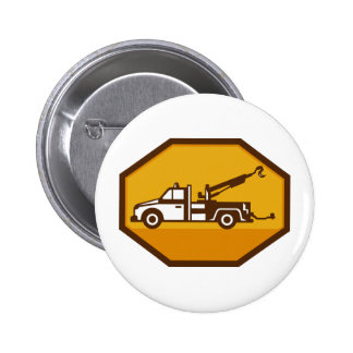 vintage tow wrecker truck side view retro button
