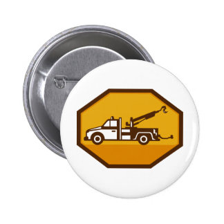 vintage tow wrecker truck side view retro pinback button