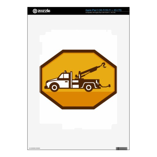 vintage tow wrecker truck side view retro skins for iPad 3