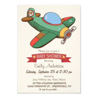 Vintage Toy Airplane Baby Shower Card