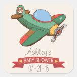 Vintage Toy Airplane Baby Shower Square Sticker