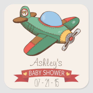 Vintage Toy Airplane Baby Shower Square Sticker