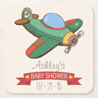 Vintage Toy Airplane Baby Shower Square Paper Coaster
