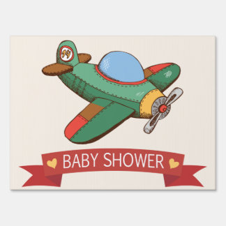 Vintage Toy Airplane Baby Shower Yard Sign