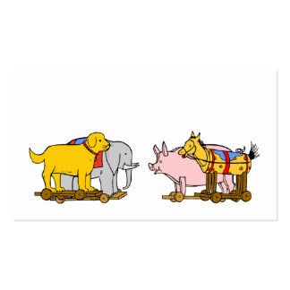 Vintage Toy Dog, Horse, Pig Elephant Business Card