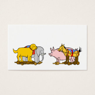 Vintage Toy Dog, Horse, Pig Elephant Business Card