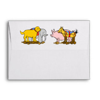 Vintage Toy Dog, Horse, Pig, Elephant Envelope