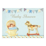 Vintage Toy Horse Baby in Crib Boys Baby Shower 5x7 Paper Invitation Card