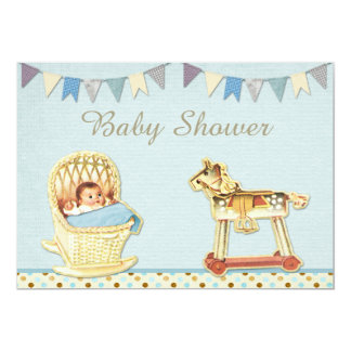 Vintage Toy Horse Baby in Crib Boys Baby Shower Card