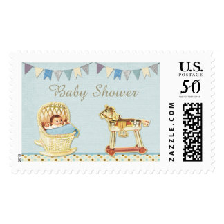 Vintage Toy Horse Baby in Crib Boys Baby Shower Postage