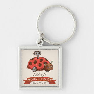 Vintage Toy Ladybug Baby Shower Silver-Colored Square Keychain