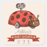 Vintage Toy Ladybug Baby Shower Square Sticker