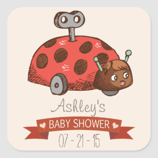 Vintage Toy Ladybug Baby Shower Square Stickers