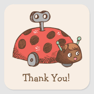 Vintage Toy Ladybug Thank You Square Sticker