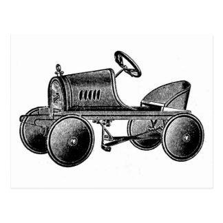 Vintage Toy Pedal Car Postcard