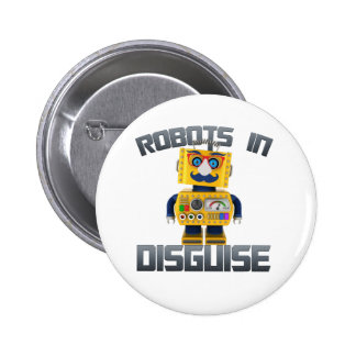 Vintage toy robot in disguise pinback button