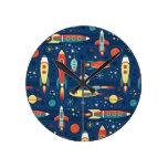 Vintage Toy Rockets Round Clock