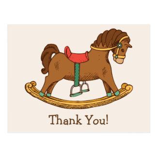 Vintage Toy Rocking Horse Retro Thank You Postcard