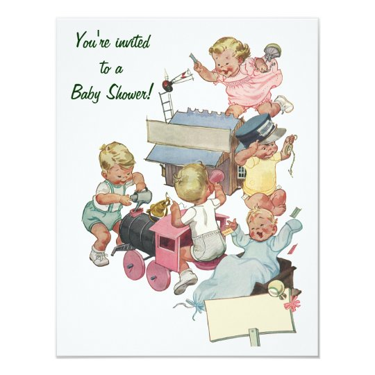 Vintage Toy Trains Baby Shower Invitation