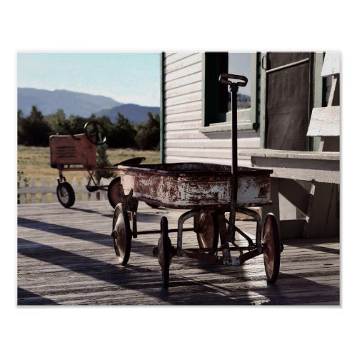 Vintage Toy Wagon and Tractor Poster