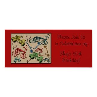 Vintage Toys 4x9.25 Paper Invitation Card