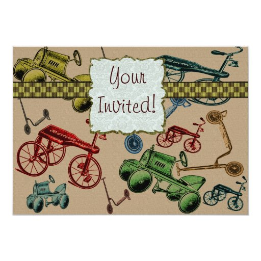 Vintage Toys 5x7 Paper Invitation Card