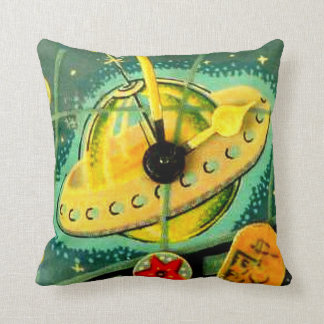Vintage Toys Space Ship Cat on back Kids Room Throw Pillow