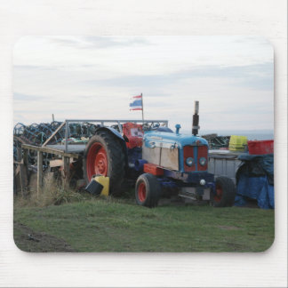 vintage tractor and flag mouse pad