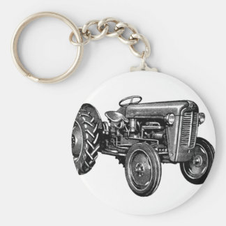 Vintage Tractor Basic Round Button Keychain