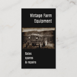 Vintage tractor business card