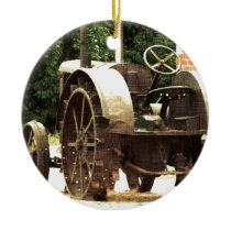Vintage Tractor Ceramic Ornament