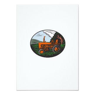 Vintage Tractor Farm Woodcut Card