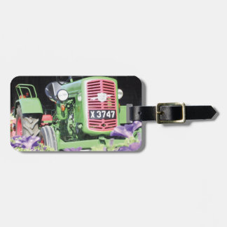 Vintage Tractor Flowers Bag Tag