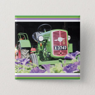 Vintage Tractor Flowers Button