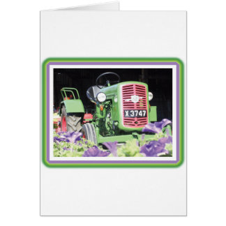 Vintage Tractor Flowers Greeting Card