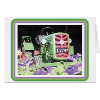 Vintage Tractor Flowers Card