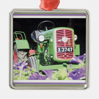 Vintage Tractor Flowers Metal Ornament