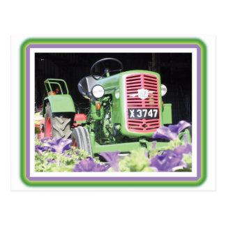 Vintage Tractor Flowers Post Cards