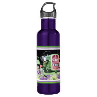 Vintage Tractor Flowers Stainless Steel Water Bottle