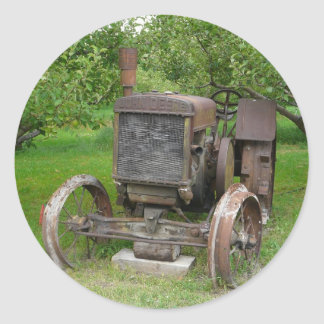 Vintage Tractor in Apple Orchard Classic Round Sticker