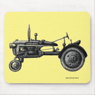Vintage tractor ink drawing art mouse pad