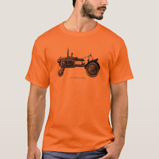 Vintage tractor ink drawing art tshirt