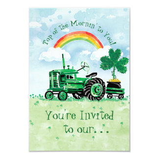 Vintage Tractor St. Patrick's Day Party Invitation